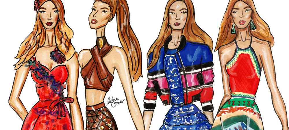 Gigi Hadid Illustrations By Lubna Omar